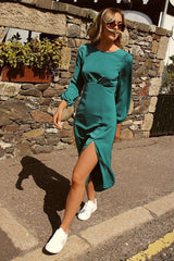Long Sleeve Backless Teal Green Midi Dress with Split HAUS OF DECK