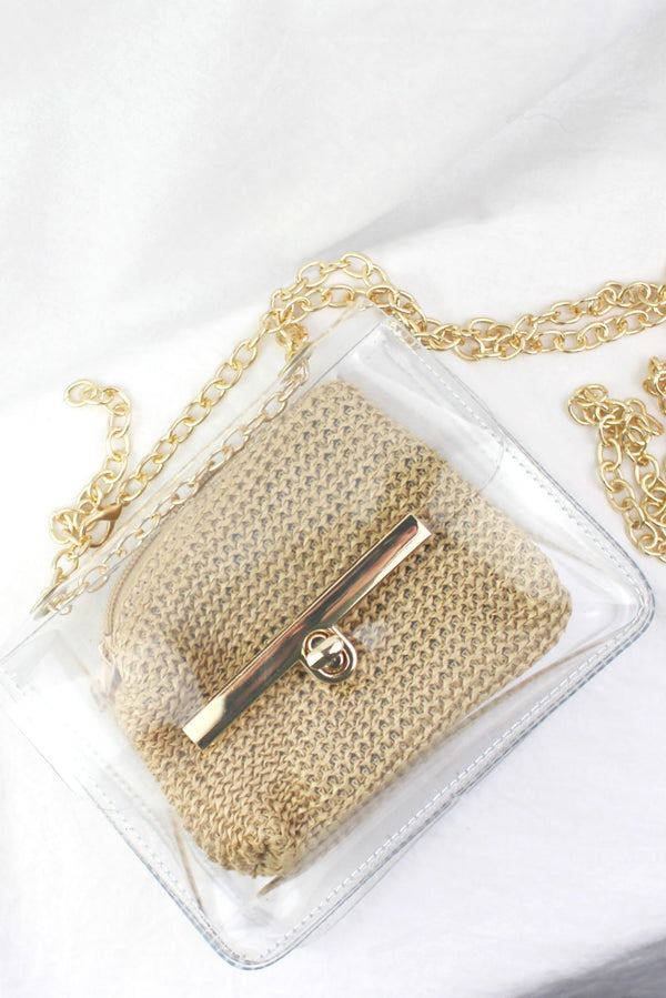 Mini Clear Bag With Woven Insert HAUS OF DECK