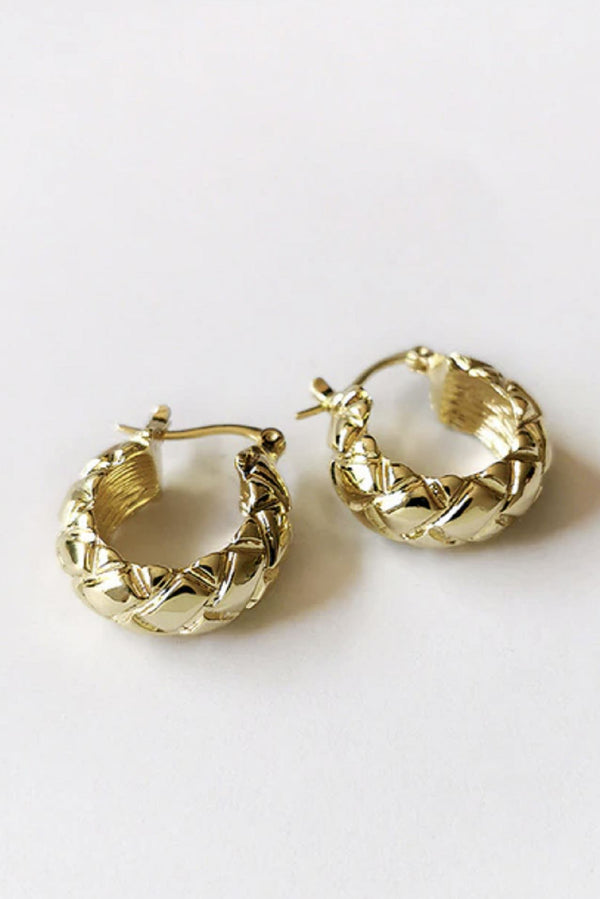 Mini Gold Flat Textured Hoop Earrings HAUS OF DECK