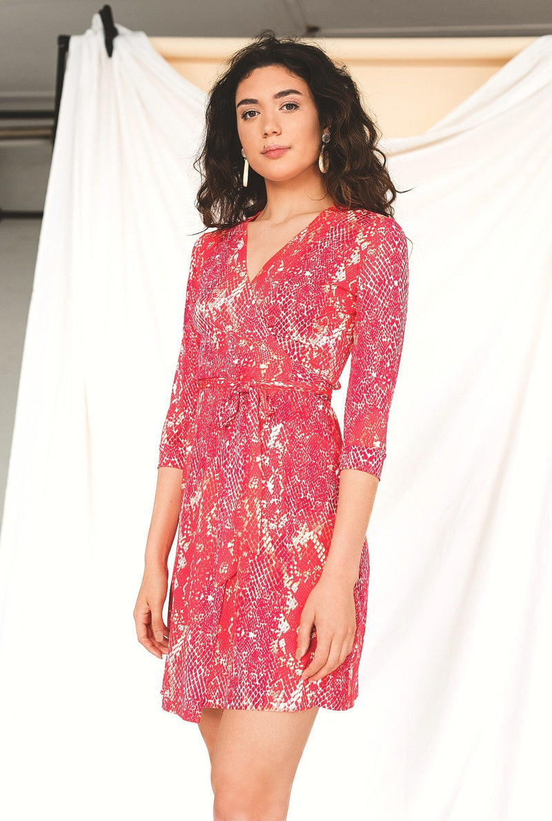 Pink Snake Print Wrap Dress HAUS OF DECK