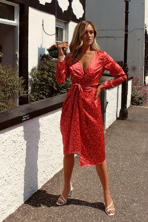 Red Leopard Print Satin Midi Wrap Dress HAUS OF DECK