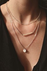 Silver Pearl And Circle Layer Necklace HAUS OF DECK