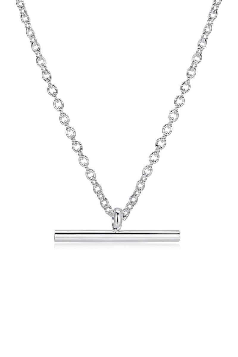 Sterling Silver Fine T-Bar Pendant Chain Necklace HAUS OF DECK
