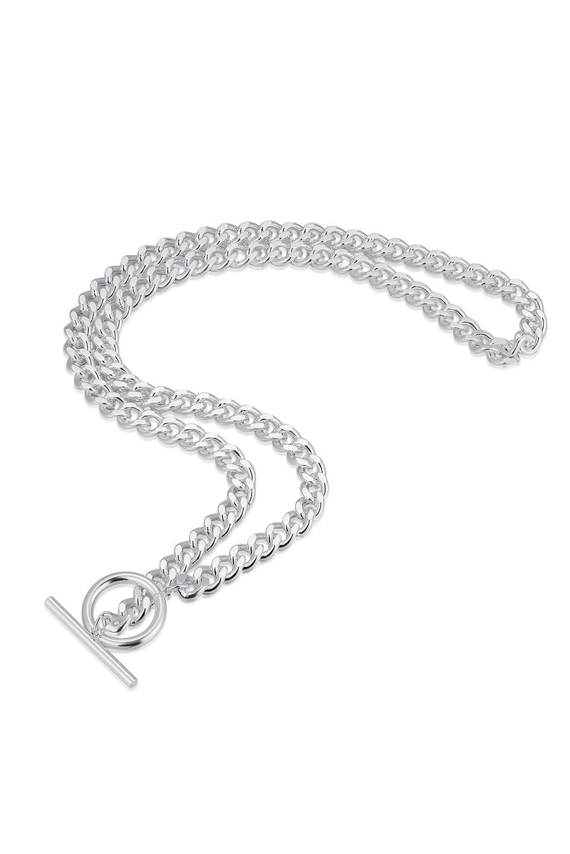 Sterling Silver T-Bar and Circle Chain Necklace HAUS OF DECK