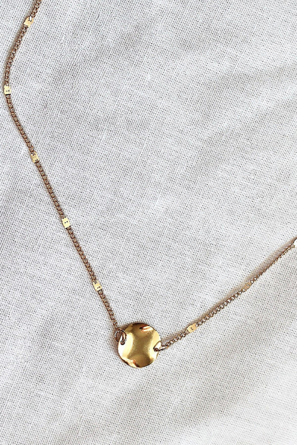 Thin Gold Disc Pendant Necklace HAUS OF DECK