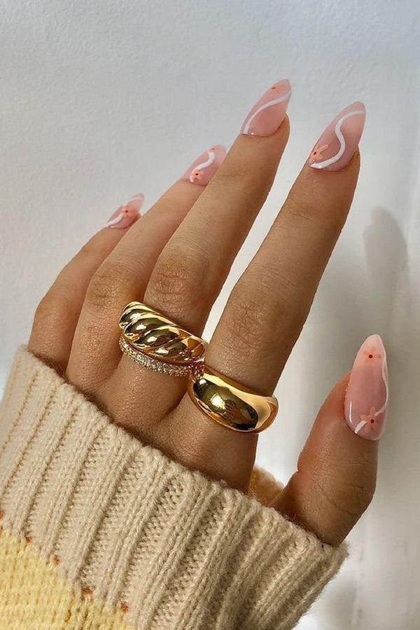 18k Gold Plated Sparkle Dome Ring Set