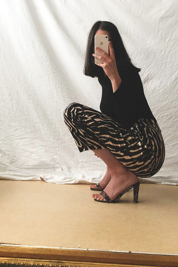 Tiger Print Mid Waist Trousers HAUS OF DECK