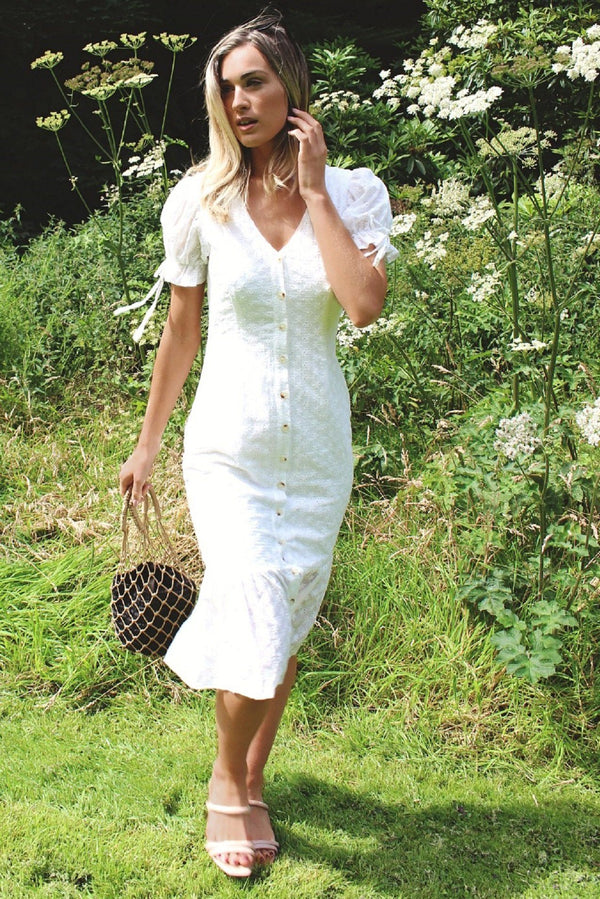 White Midi Broderie Summer Dress HAUS OF DECK