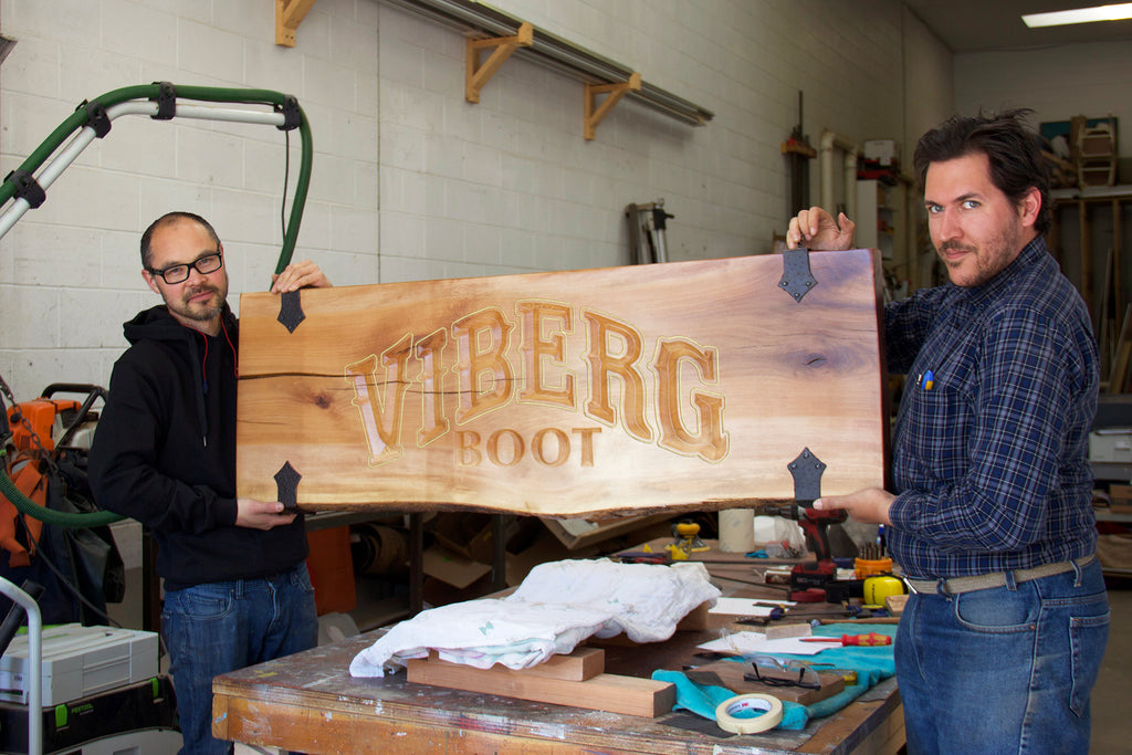 Viberg Work Boot new wood sign