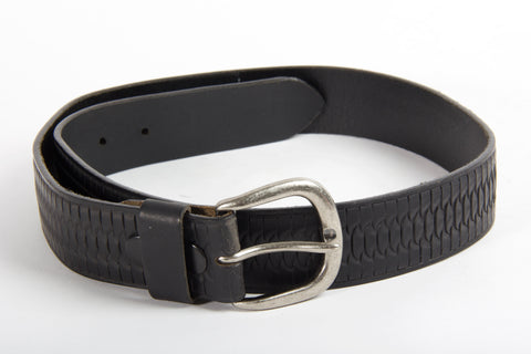 Embossed Black Leather Belt