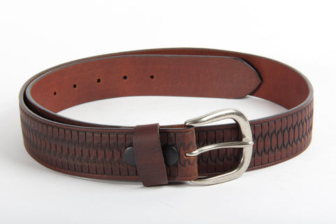 Embossed Brown Leather Belt