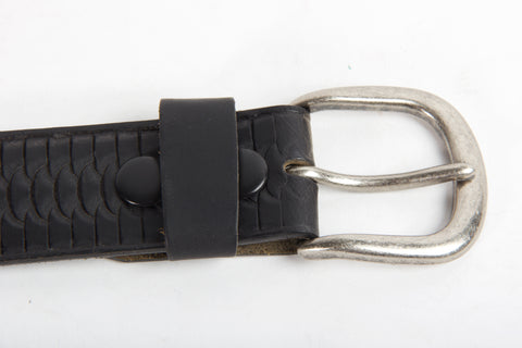 Embossed Black Leather Belt Buckle