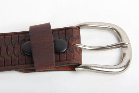 Embossed Brown Leather Belt Buckle