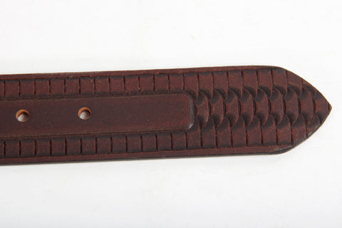 Embossed Brown Leather Belt Tip