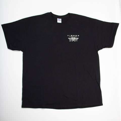 Viberg Boot t-shirt with winged logo, front