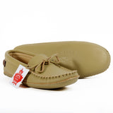 Tan leather moccasin slippers