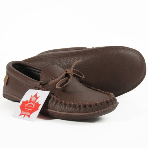 Brown leather moccasin slippers