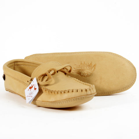 Laurentian Chief leather moccasins natural tan moose hide