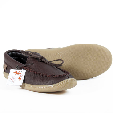 Laurentian Chief leather moccasins fudge brown