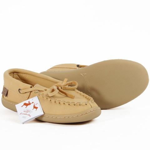 Ladies leather moccasin slippers natural tan moose hide