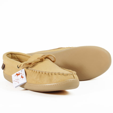 Laurentian Chief leather moccasins natural tan