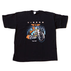 "Viberg Boot's Iconic Sasquatch ""Leavin' Camp"" on a Motorcycle T-Shirt"