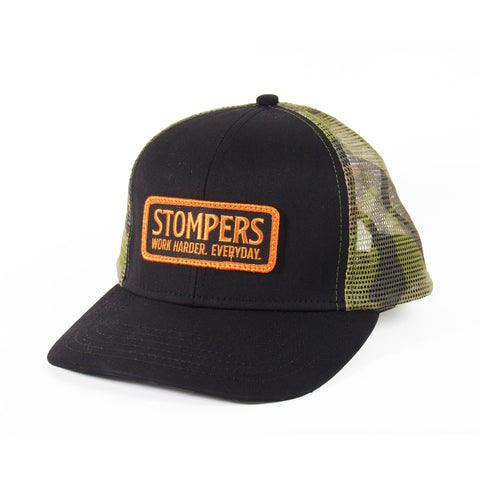 Mesh camo trucker hat with Stompers patch