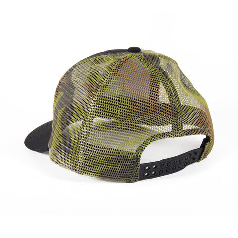 Stompers camouflage trucker hat, rear view
