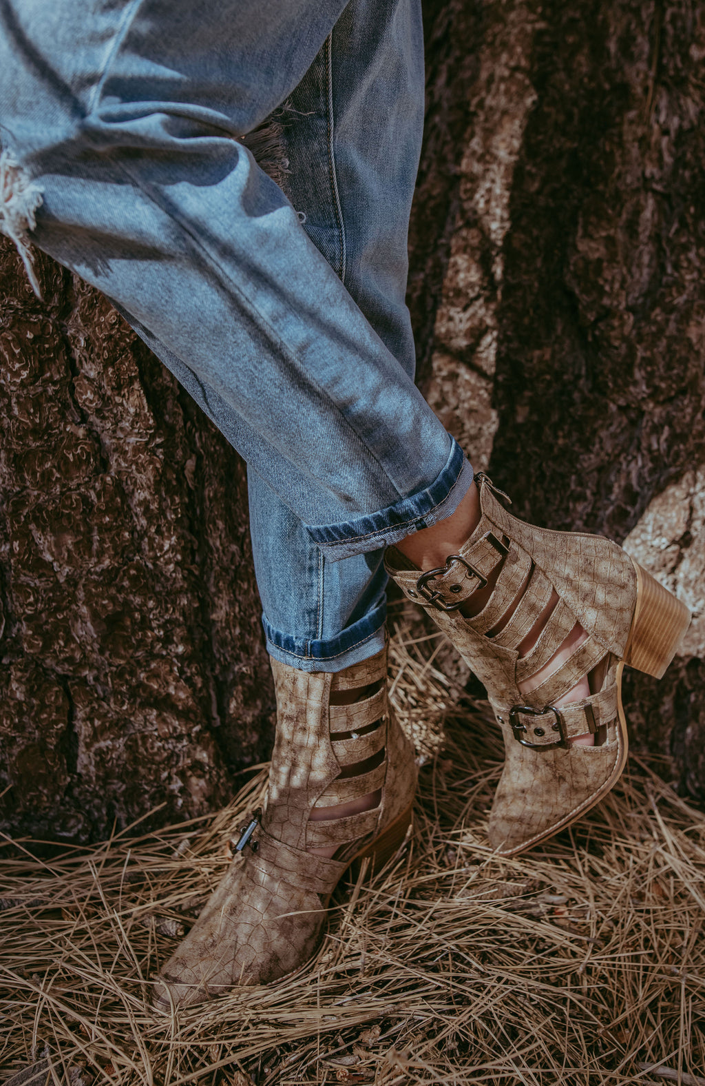 Buckle Up Taupe Croc Booties