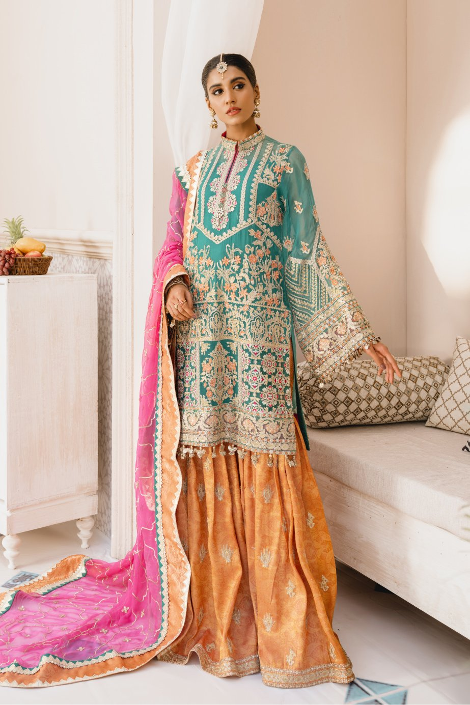 Formal Gharara - Colors & Lover (MX-08) - Mashq Premium | A female model wearing a stunning and beautiful Formal Gharara and posing for the Photoshoot of Mashq's Formal Wear Collection