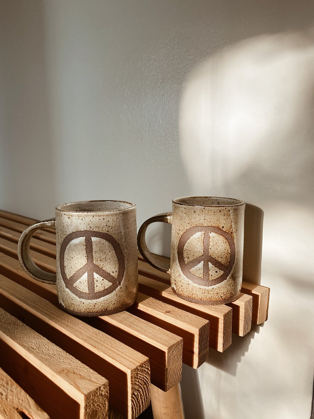 Handmade Pottery Peace Sign Mug