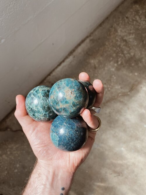 Blue Apatite Spheres on Acrylic Stand