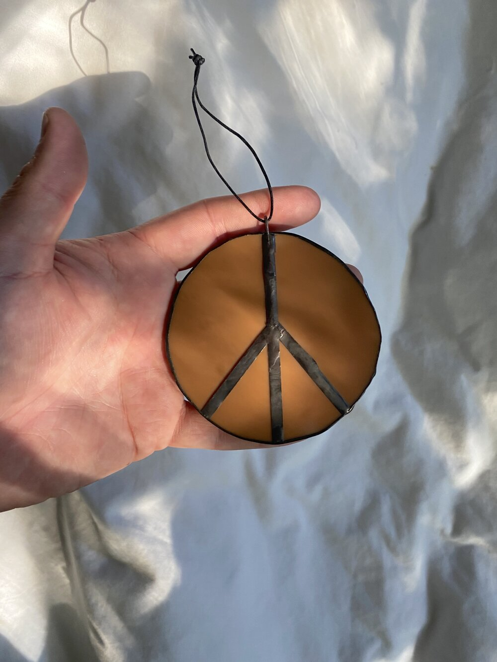 Handmade Peace Sign Stained Glass Hanging