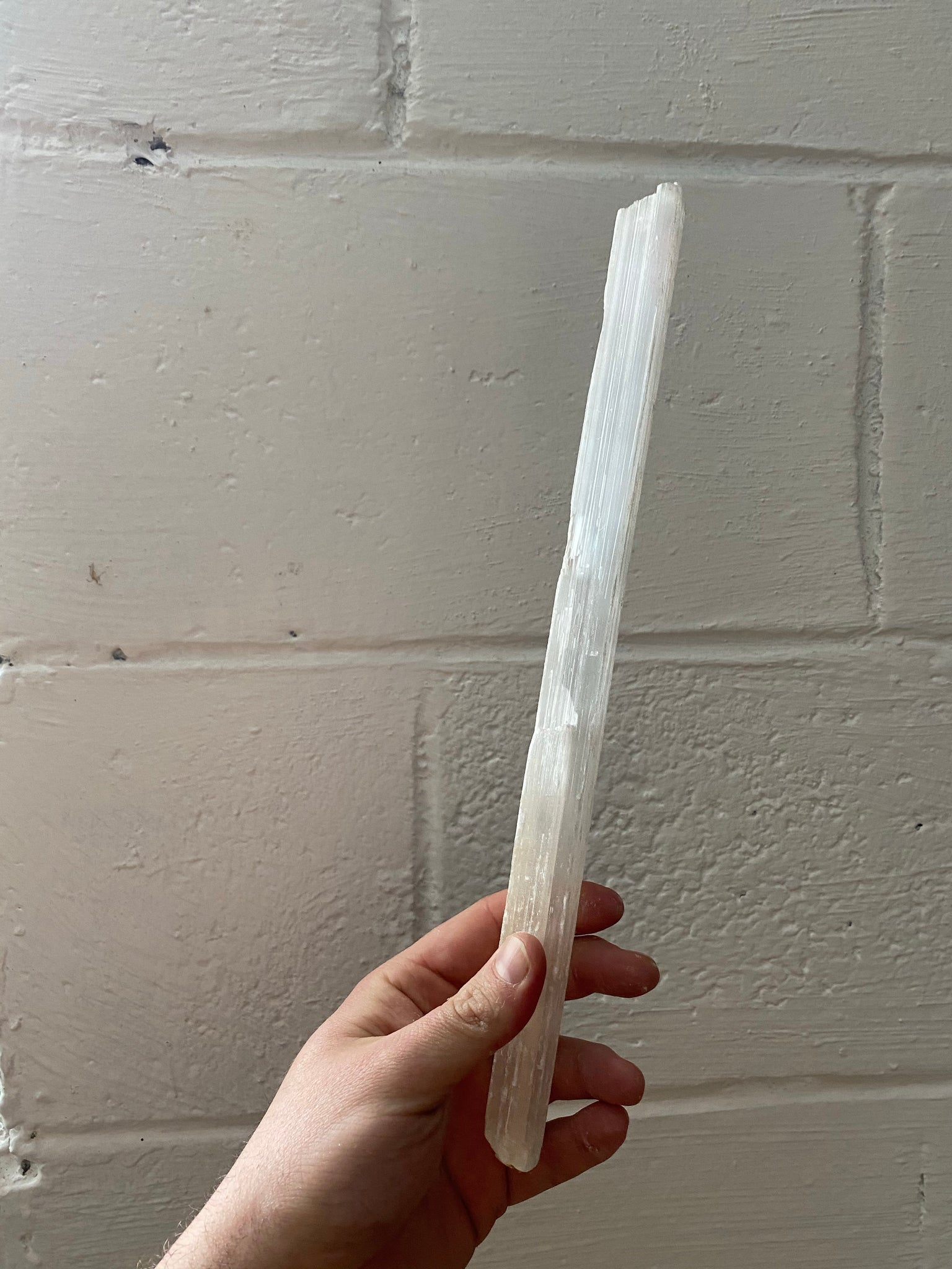 Selenite Palm/Worry Stone and Selenite Wand