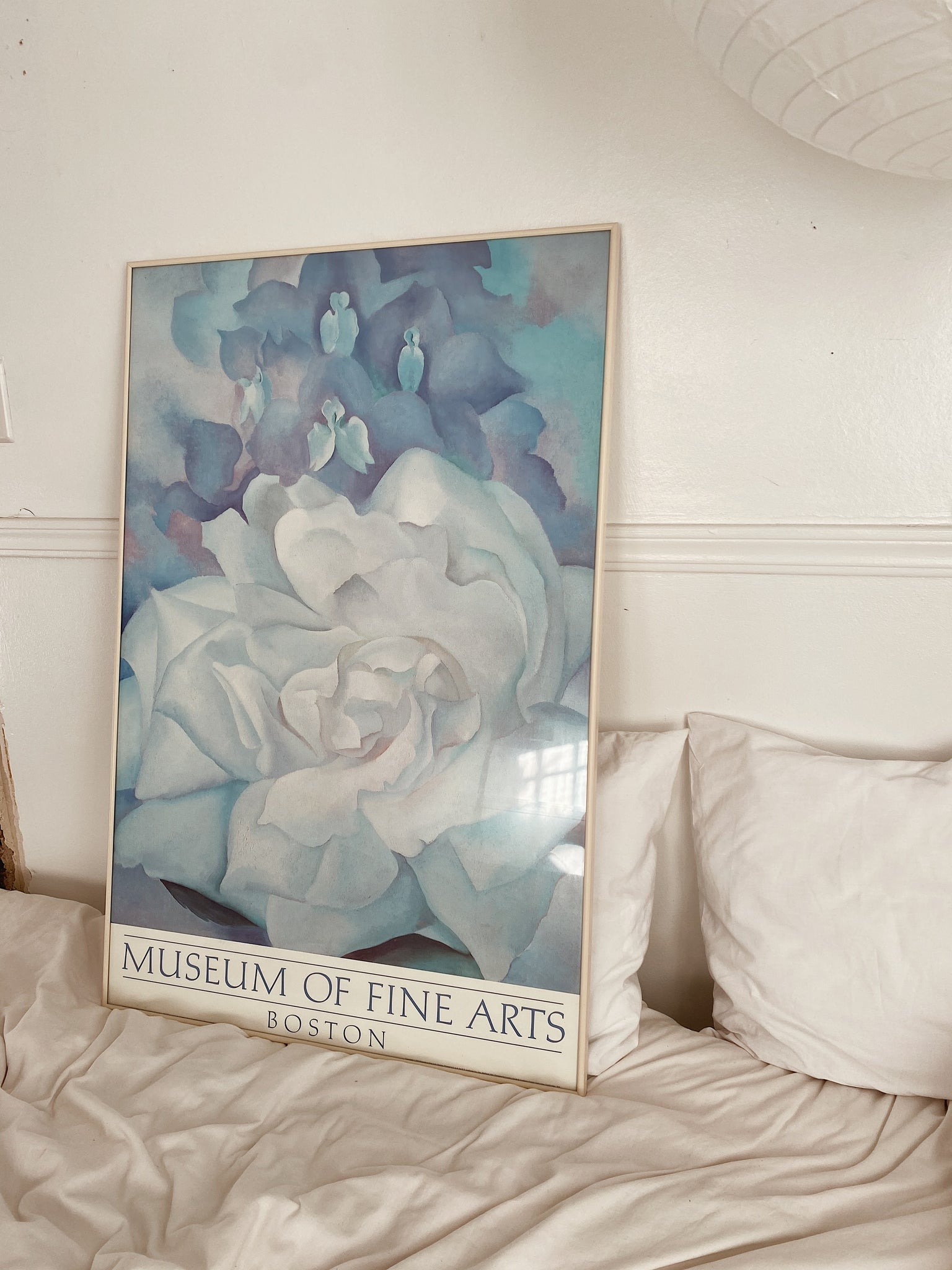 "1984 Georgia O'Keefe ""White Rose with Larkspur"" OffSet Lithograph Framed Print"