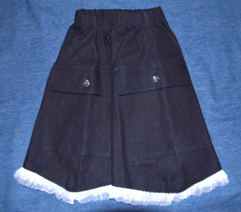 Denim Skirt with White Tulle bottom