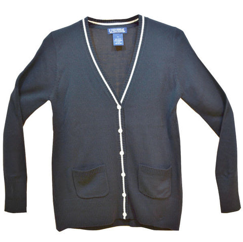 V-Neck Cardigan with White Trim