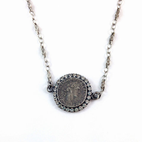 Ancient Roman Coin Short Silver Necklace
