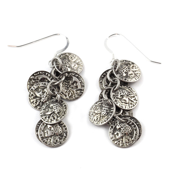 Roman Coin Silver Earrings