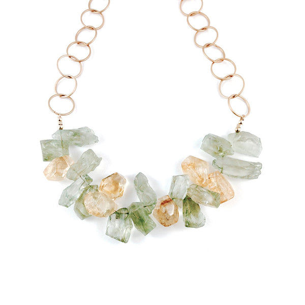 Green Amethyst And Citrine Short Necklace