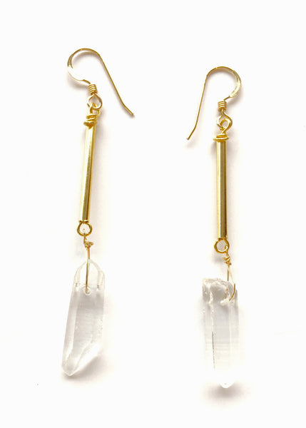 Clear Quartz Gold Earrings