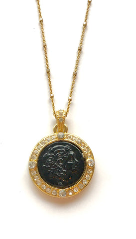 Black Onyx Coin Short Necklace