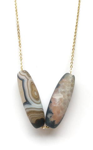 Agate Gold Long Necklace