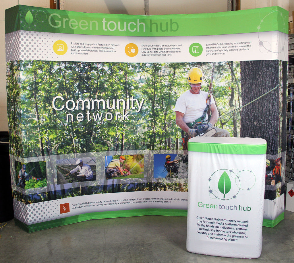 Green touch hub 10' Hop Up Display & Podium Case Wrap - Project Portfolio