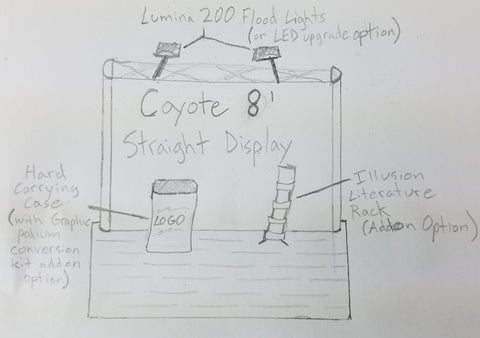 8' Coyote Pop-up Display Kit Sketch