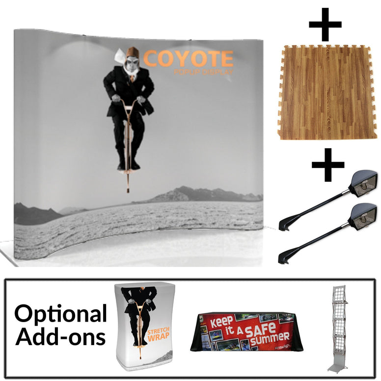 Coyote 10' Curved Graphic Pop-up Display Starter Kit