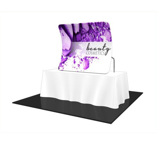 Trade Show Formulate Essential Tabletop Display Vertical Curved Front