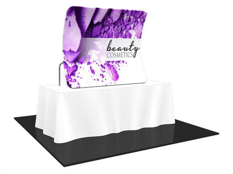 Trade Show Formulate Essential Tabletop Display Vertical Curved Front Left