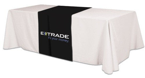 Screen Print Table Runner E Trade Black And White