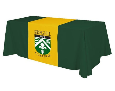 Screen Print Table Runner Spring Hill Green Gold